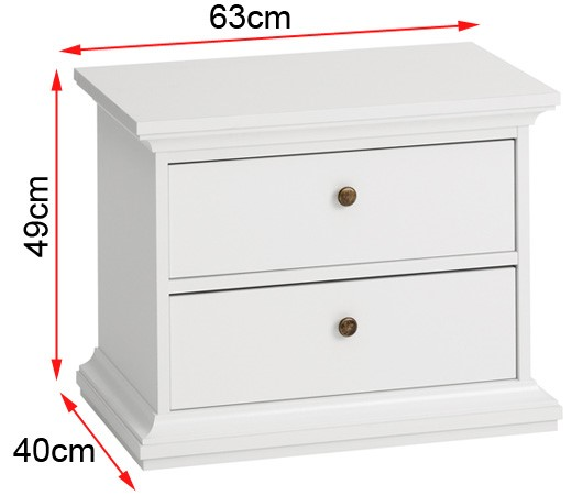 Paris bedside with dimensions