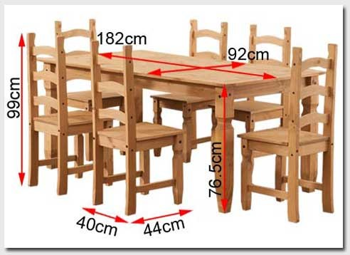 Corona Solid Pine Dining Set With 6 Chairs Furniture123