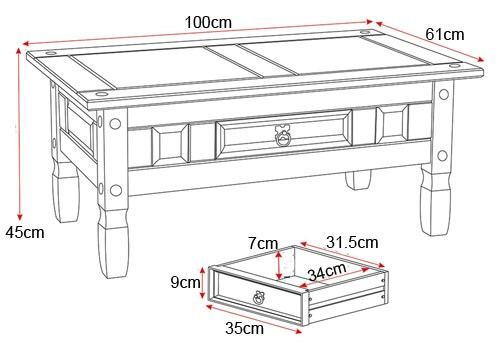 Corona 1 drawer coffee table noct offs for Table dimensions