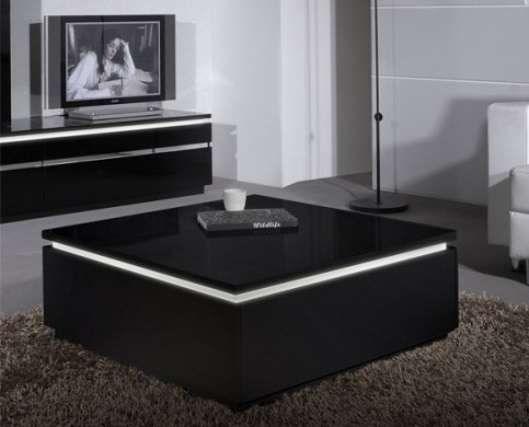 Electra blackhigh gloss coffee table with led lighting for Furniture 123 code