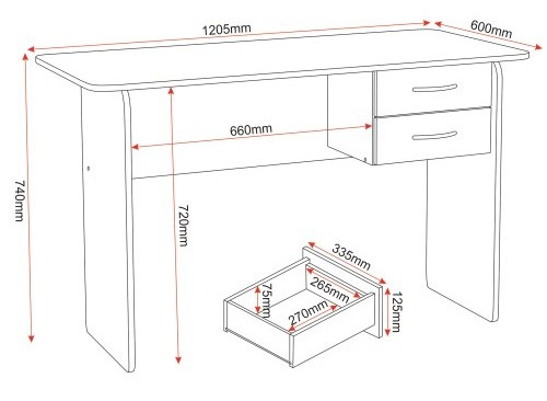 Jenny desk dimensions