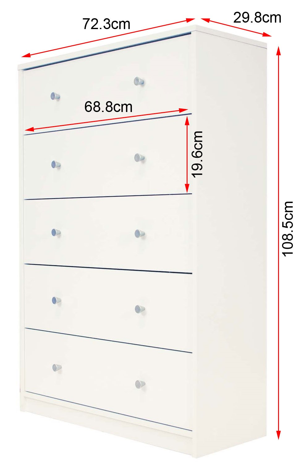 June five drawer chest dimensions