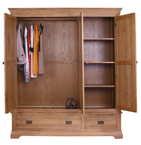 Grade a1 loire oak farmhouse 3 door 2 drawer wardrobe for Furniture 123 code