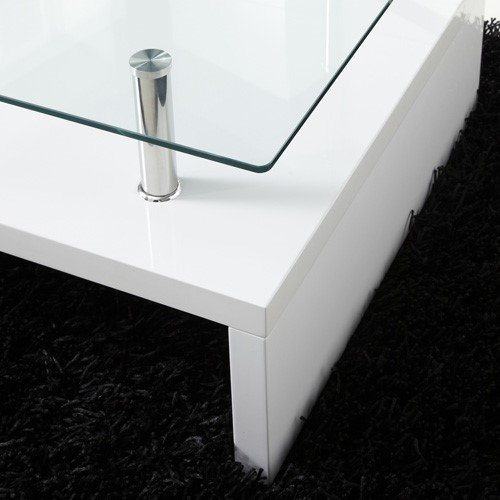 Tim Clear Glass Coffee Table With High Gloss White Base: Tiffany White High Gloss Rectangular Glass Top Coffee