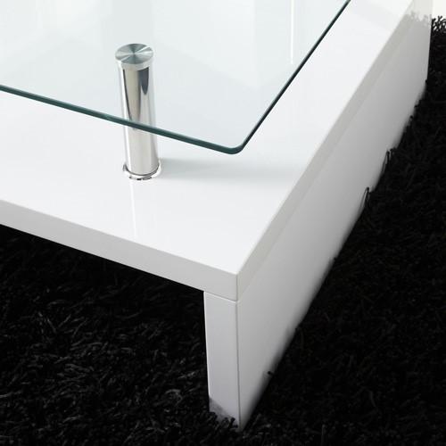 Tiffany White High Gloss Square Coffee Table Furniture: Tiffany White High Gloss Rectangular Glass Top Coffee