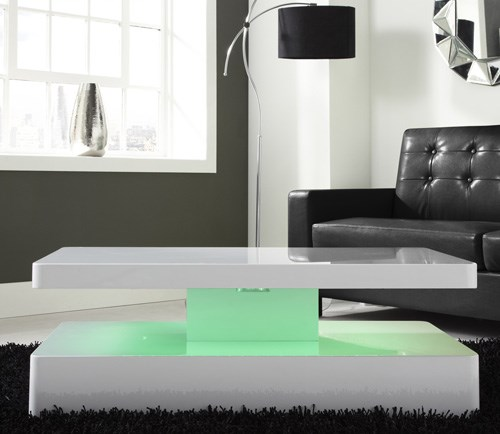 Grade A1 Tiffany White High Gloss Rectangular Coffee Table With Led Lighting