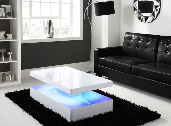White Modern Coffee Tables Uk Tiffany White High Gloss Rectangular Coffee Table With LED Lighting QJ