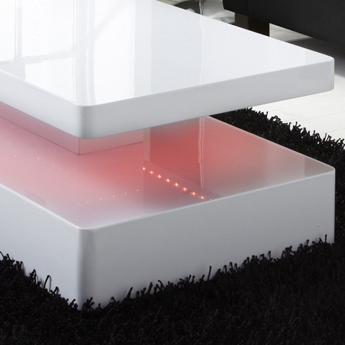 Tiffany White High Gloss Rectangular Coffee Table With Led Lighting Furniture123