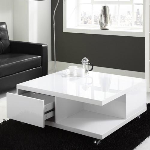 Tiffany White High Gloss Square Storage Coffee Table
