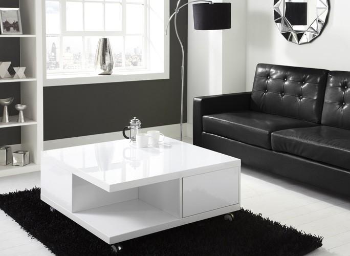 tiffany white high gloss square storage coffee table | furniture123