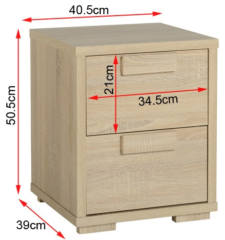 Cambourne bedside table with dimensions