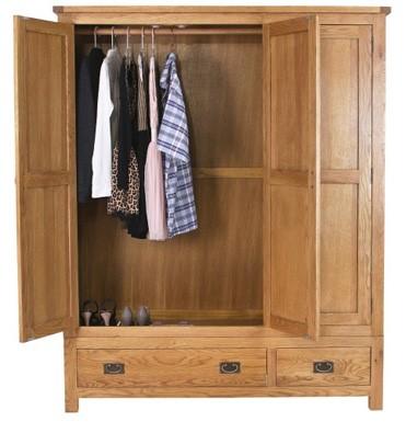 Rustic saxon oak 3 door 2 drawer wardrobe furniture123 for Furniture 123 code